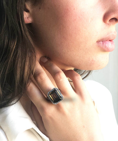 Art deco ring in smoked quartz, marcasite and silver
