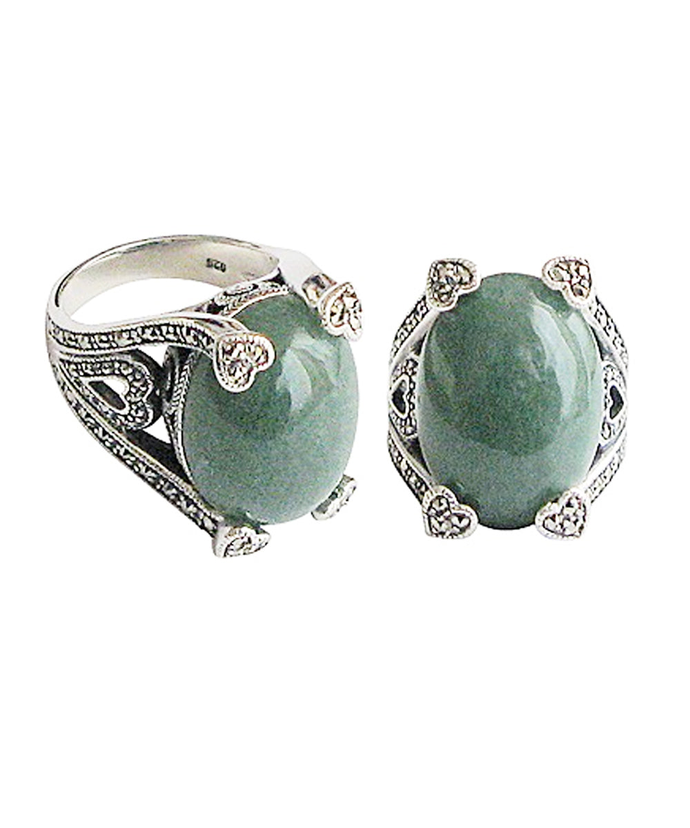 Art Deco aventurine ring decorated with silver and marcasites