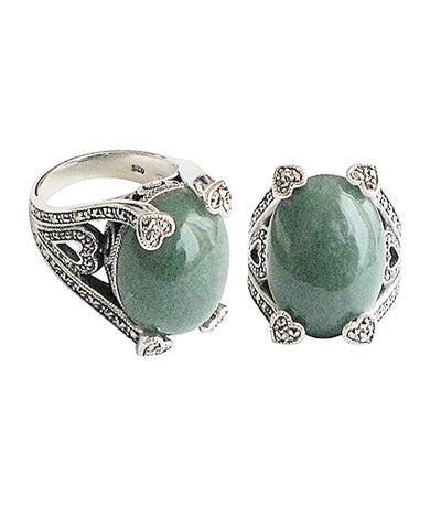 Art deco aventurine ring adorned with silver and designer marcasites