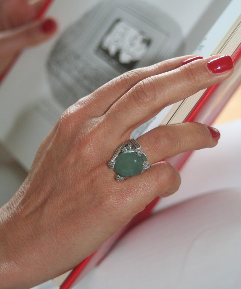 Art Deco aventurine ring decorated with silver and marcasites by designer