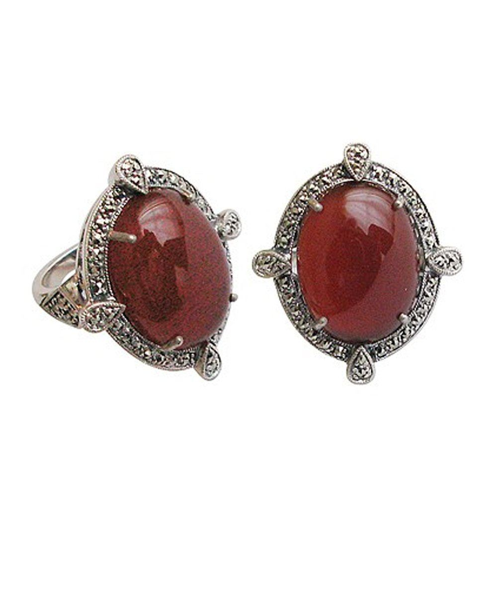 big-ring-carnelian style art deco silver and marcasites
