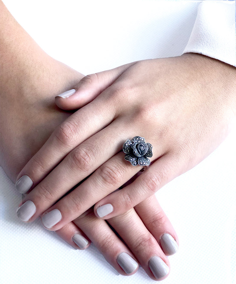 Silver and marcasite designer art deco ring