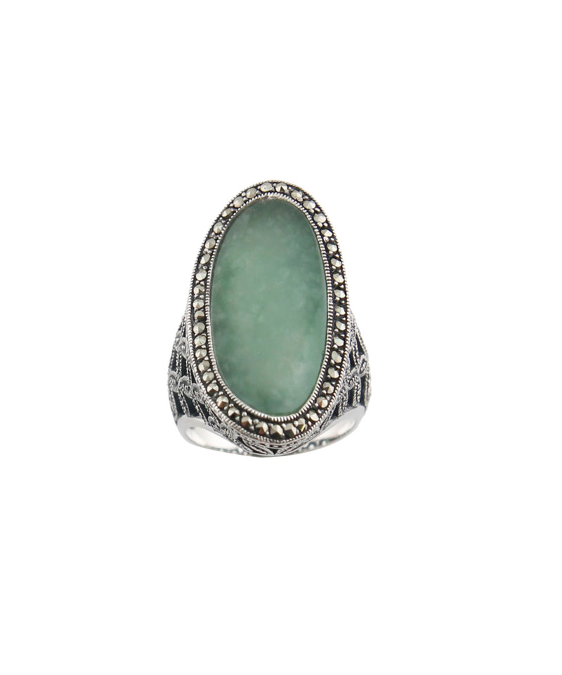 Oval art deco jade ring in silver and marcasites