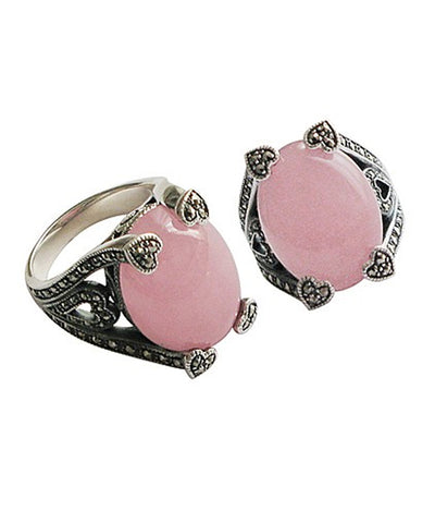 Pink jade art deco ring adorned with silver and designer marcasites