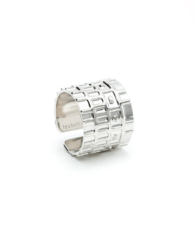 Wide Ring Gearing Silver Designer Ring