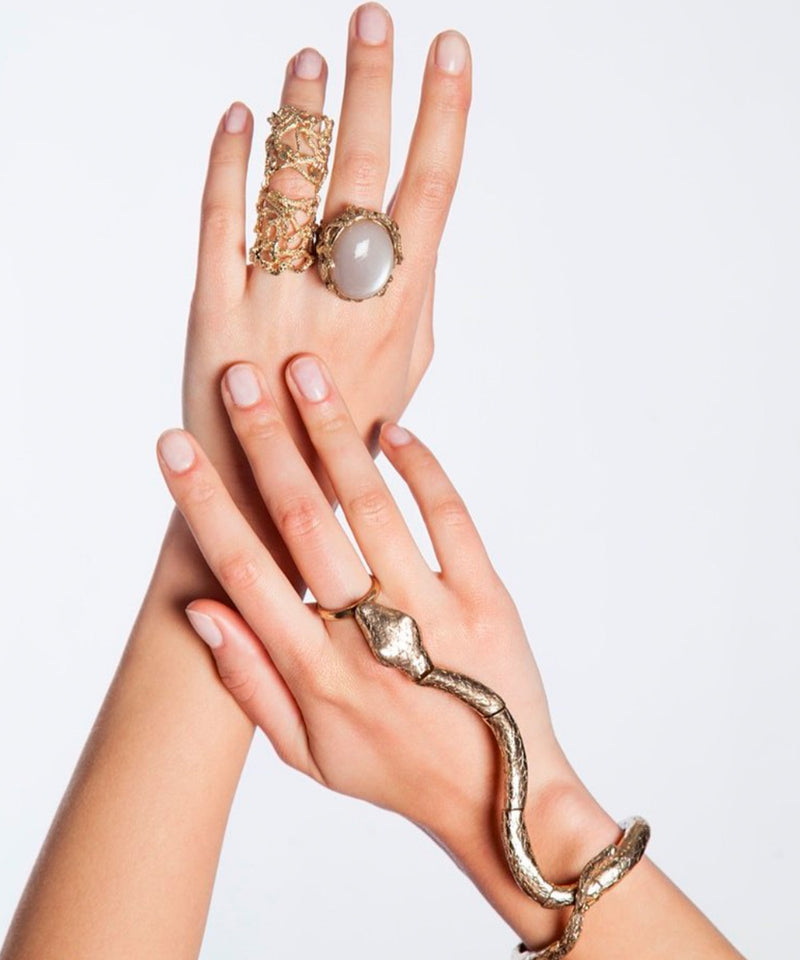 Ring Snakes Bronze and Moon Stone Designer Ring