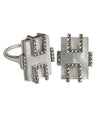 Large rectangular art deco mother-of-pearl ring in silver and marcasites