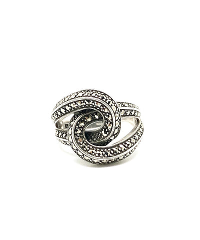 art deco ring silver knot and marcasites