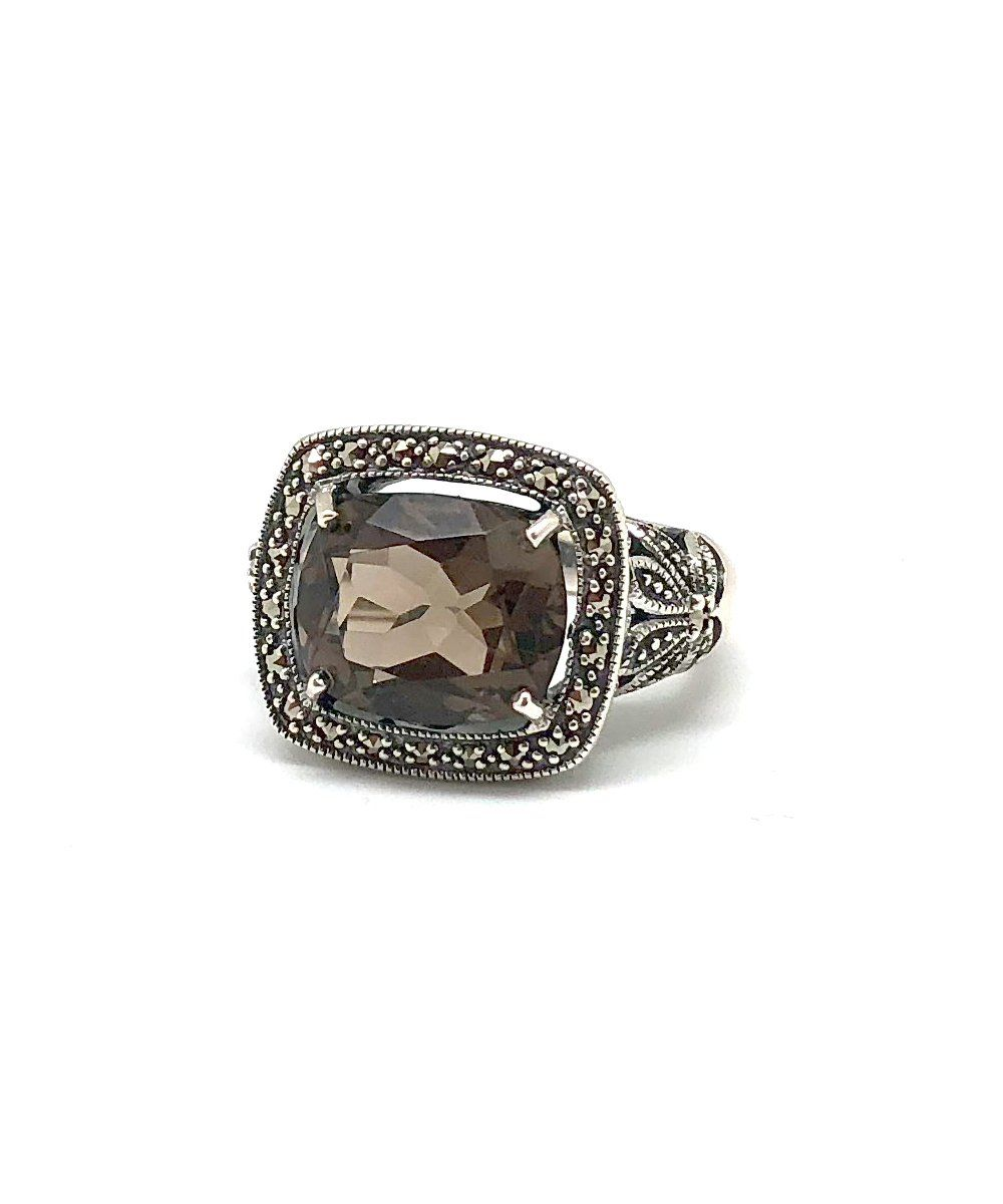 Art deco ring smoky quartz creative ring