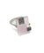 Rose quartz silver ring and marcasites art deco designer
