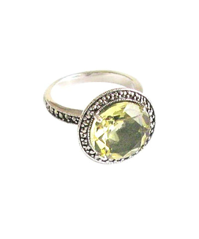 Round yellow citrine ring in silver and marcasites