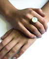 Onyx ring art deco round mother-of-pearl and marcasites worn