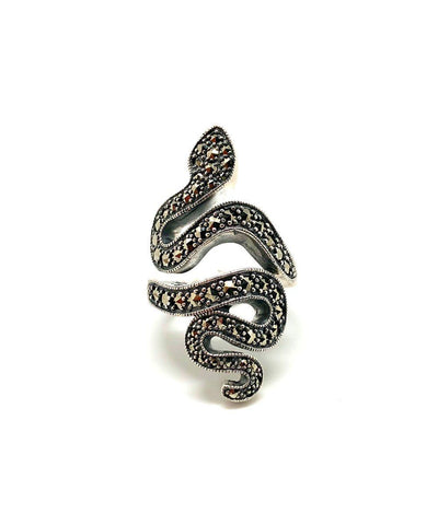 Silver and marcasite snake ring creator art deco