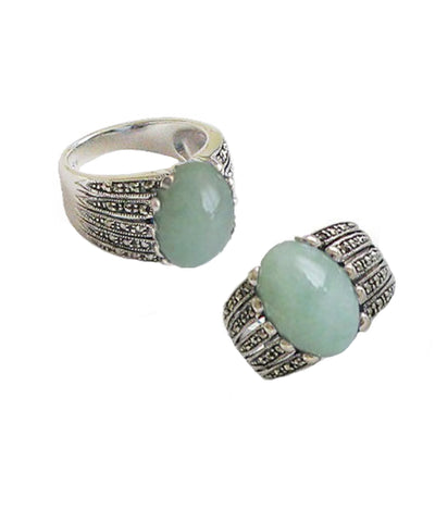 Art Deco jade ring in 925 silver and marcasites