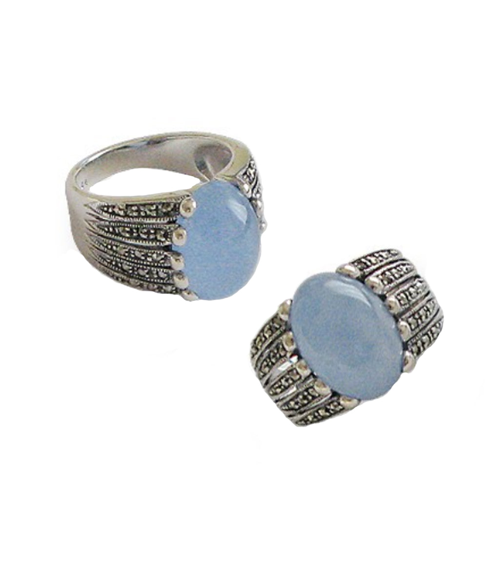Blue jade ring in silver and marcasites front and side