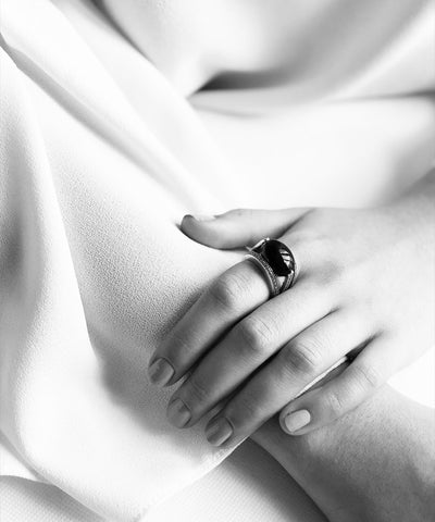Oval art deco oval ring in silver 925 and marcasites
