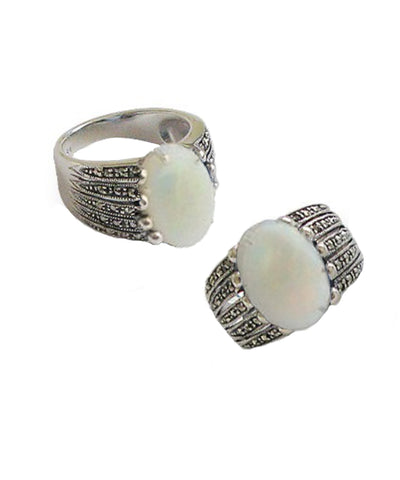 art deco opal ring in silver and marcasites front and side