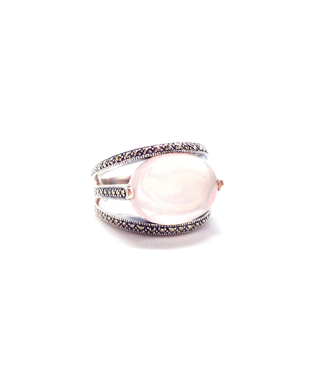 Oval art deco pink oval silver ring 925 and marcasites