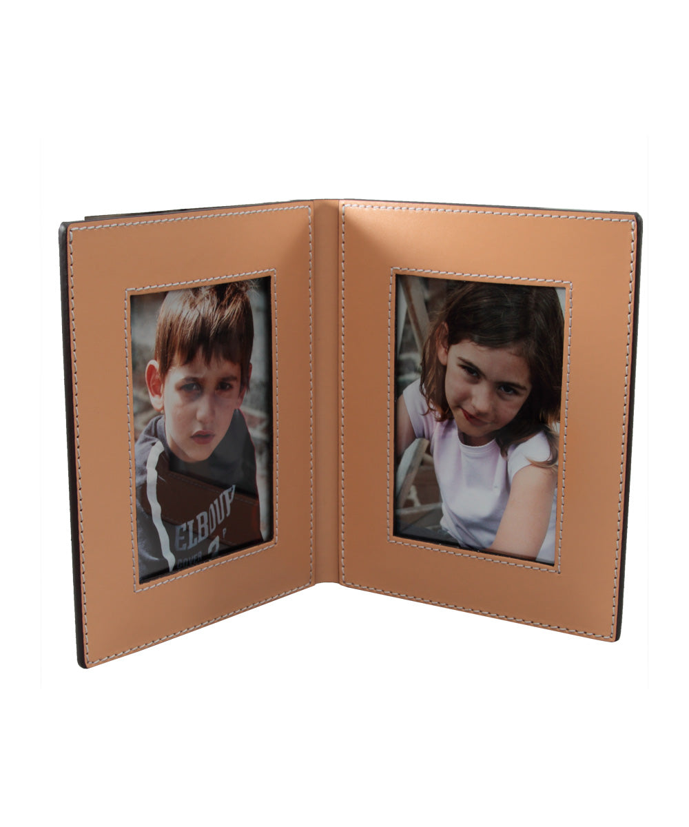 porte photos en cuir beige