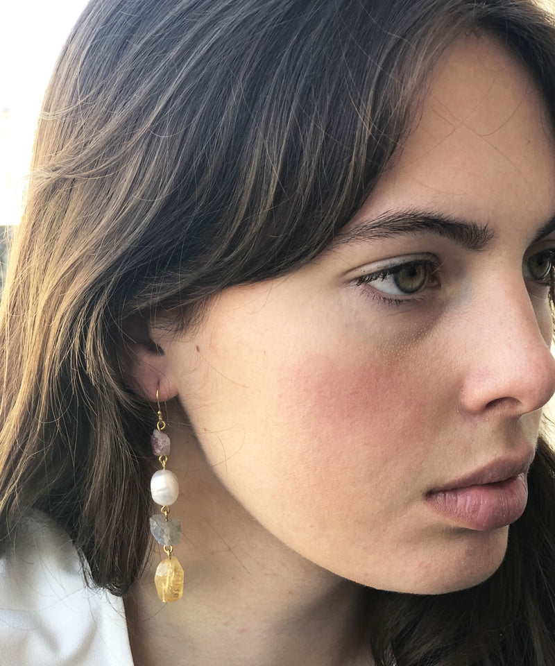 Multicolored stones and pearls earrings gilded with fine gold - Eloïse Fiorentino