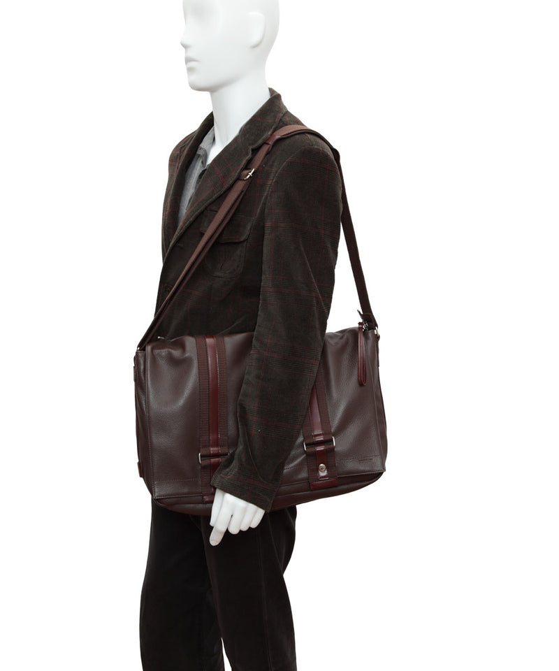 Large brown leather and linen messenger bag by Boregart - Editions LESSisRARE