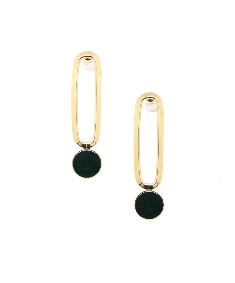 Gold Black Agate Clip Earrings Shape M Designer Earrings