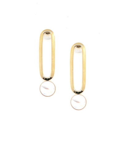 Gold mother-of-pearl clip-on earrings Shape M designer Earrings