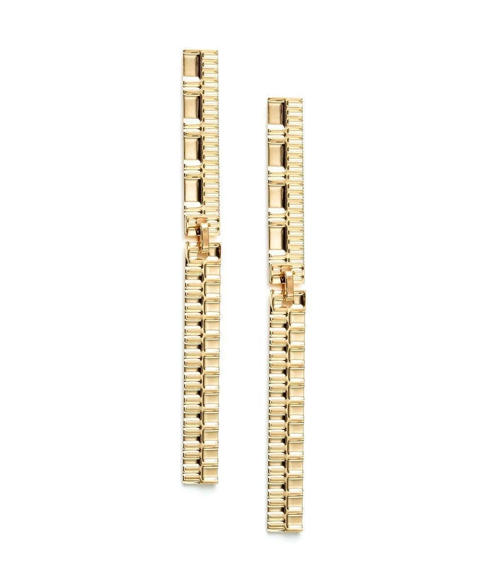 Long Gold Earrings Gearing XL Designer Earrings