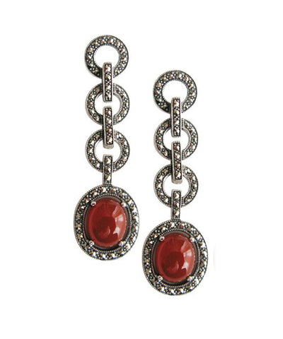 Carnelian, marcasite and silver art deco circle earrings