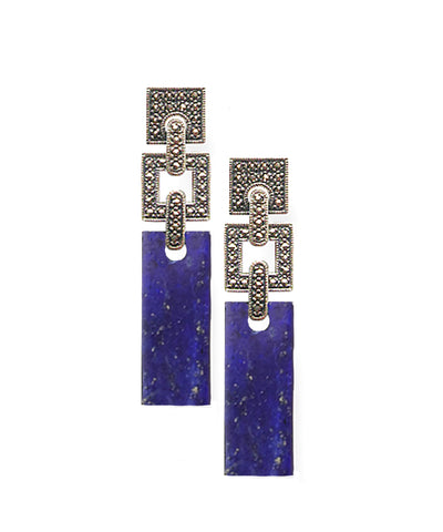 Art deco lapis lazuli earrings in silver and marcasites
