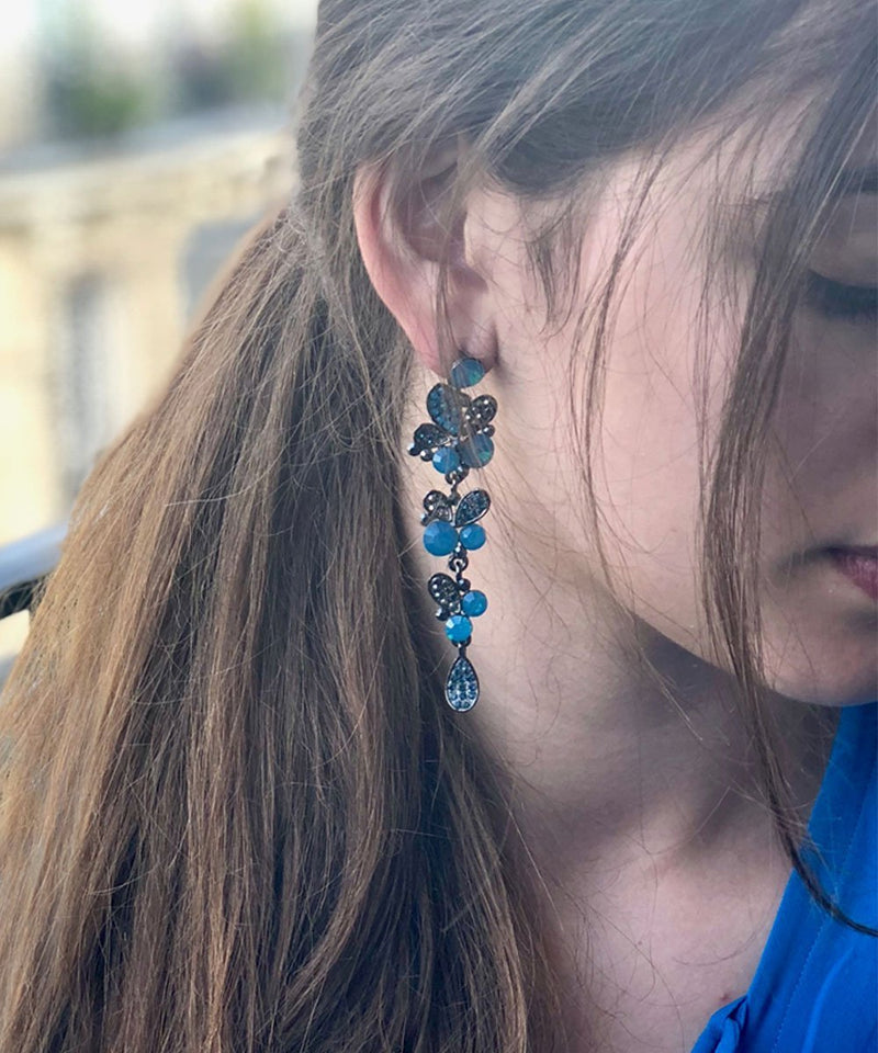 Earrings blue bunches - Editions LESSisRARE Bijoux