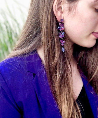 Purple bunches earrings Editions LESSisRARE Jewels worn
