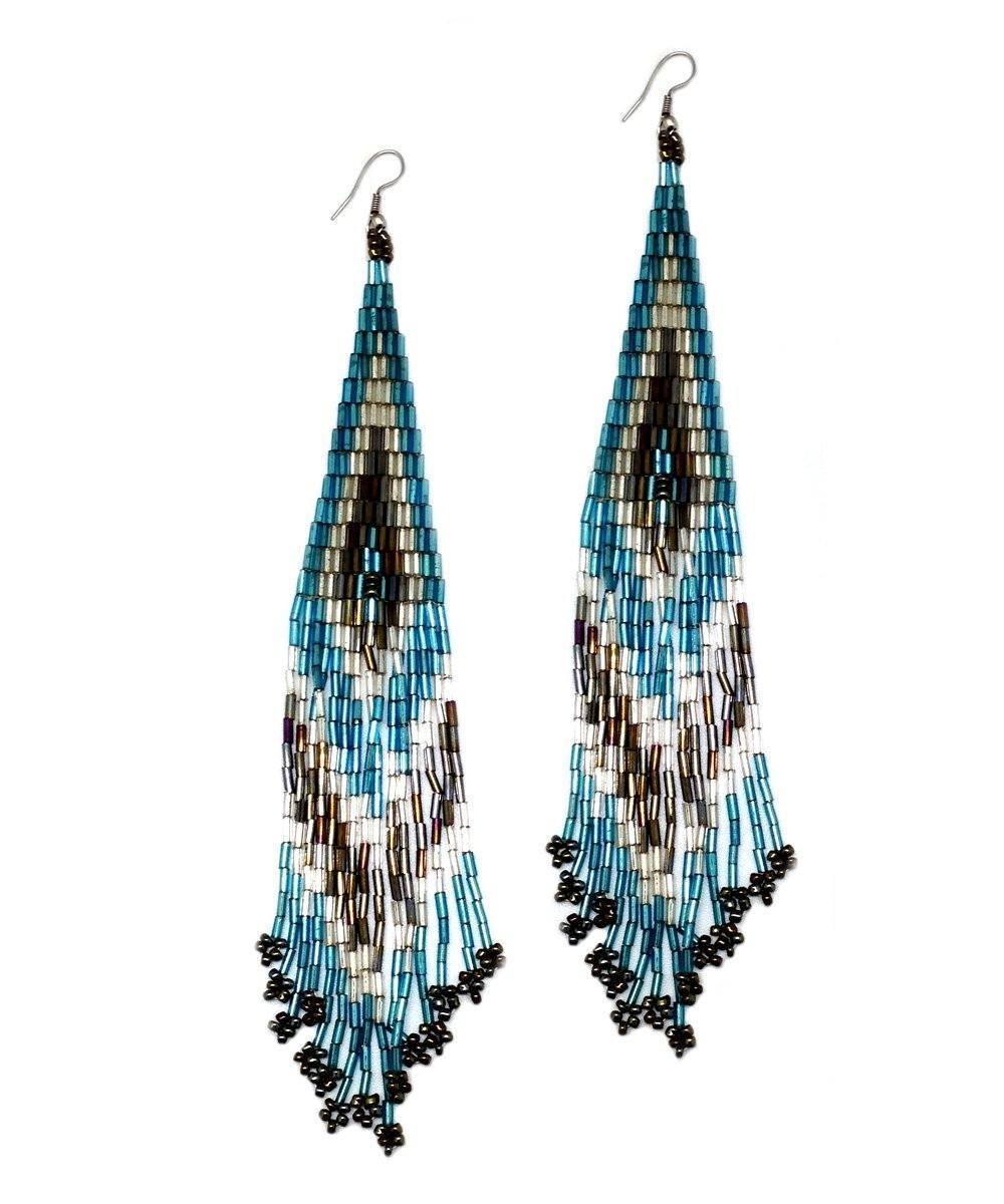 Indian blue earrings - Editions LESSisRARE Bijoux