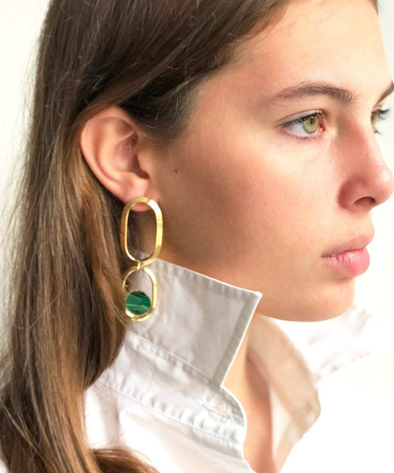 Long golden malachite earrings Shape XL designer Earrings