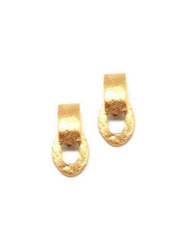 Earrings clip small gilded Creoles carole saint germes