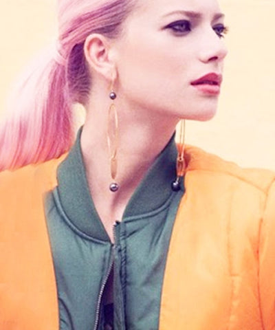 "Oversized eloise fiorentino gold earrings - ""Gold and pallor"" 2 litters"