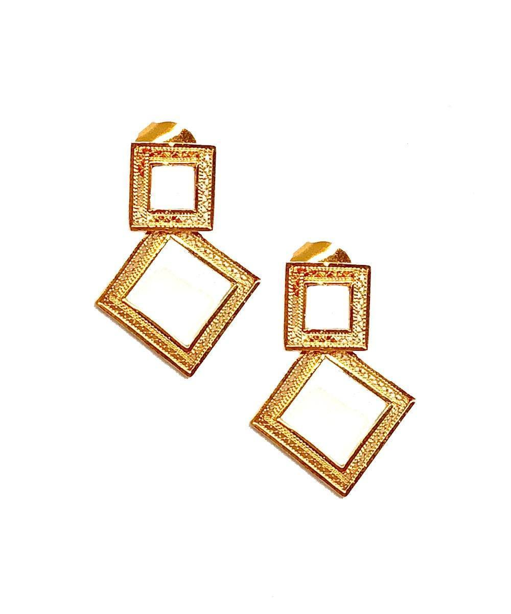 Amy Gattas Double square designer earrings