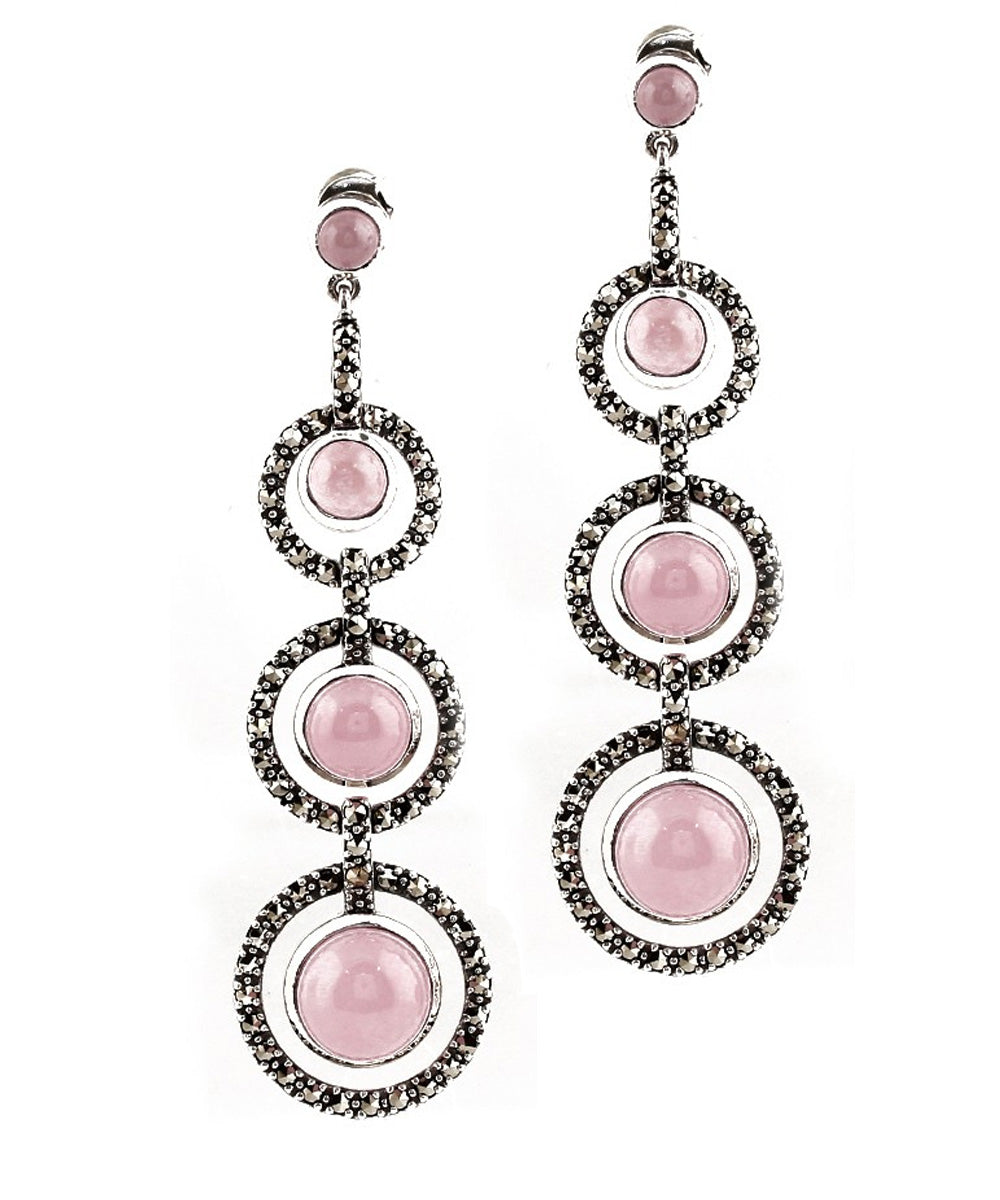 Pink quartz art deco earrings, marcasites and designer silver