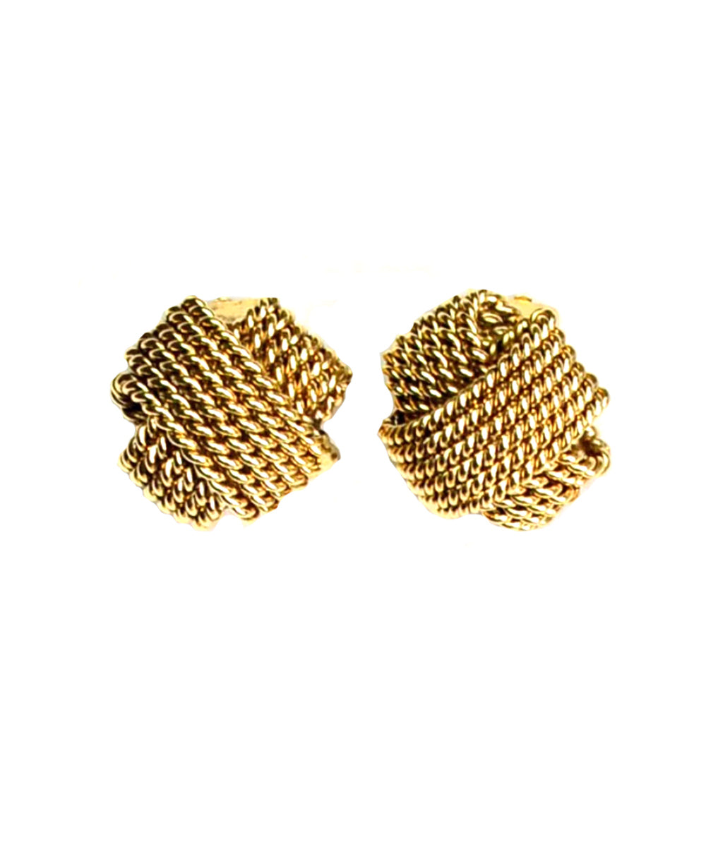 Gold braided clip earrings - Poggi