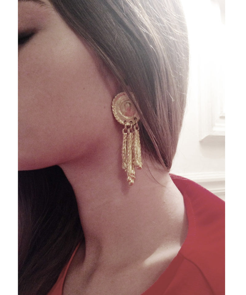 Gold tassel clip on earrings - Carole Saint Germes