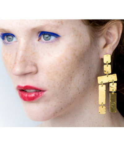 Double earrings hammered frieze eloise fiorentino worn