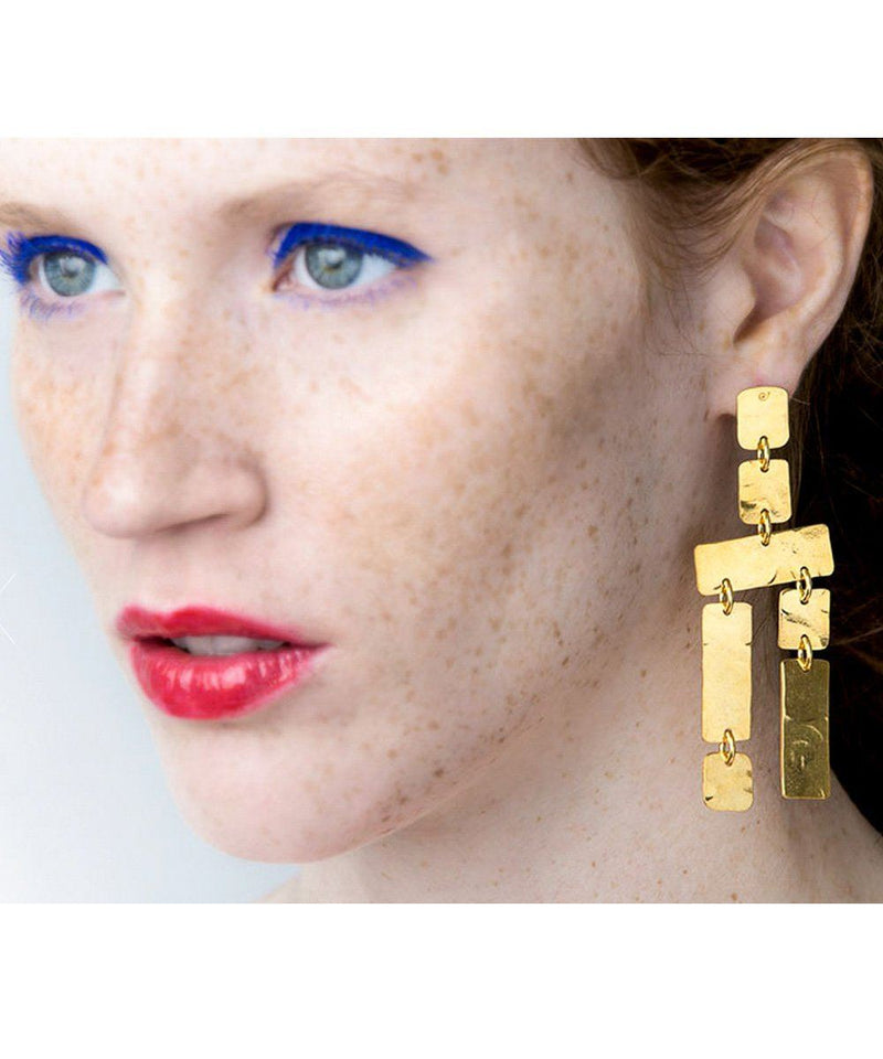 Eloise Fiorentino Hammered Ice Area Double Earrings