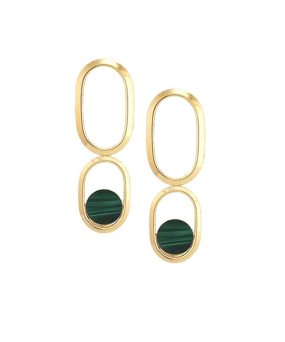 Gold Malachite long clip earrings Shape XL designer Earrings