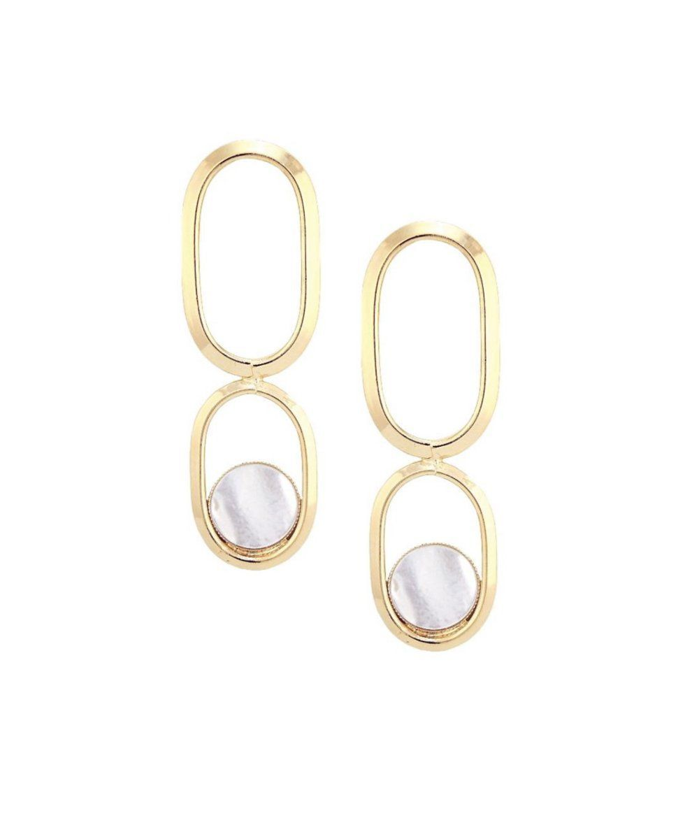 Earrings clip long mother-of-pearl gold Shape XL designer Earrings