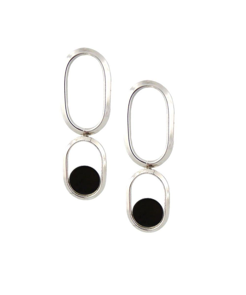 Earrings clip onyx silver designer Shape XL Earrings