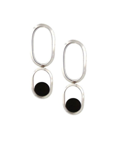 Long silver onyx clip earrings Shape XL designer Earrings