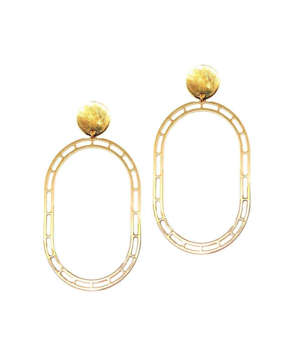 Golden STORE long clip-on earrings - Isabelle Michel