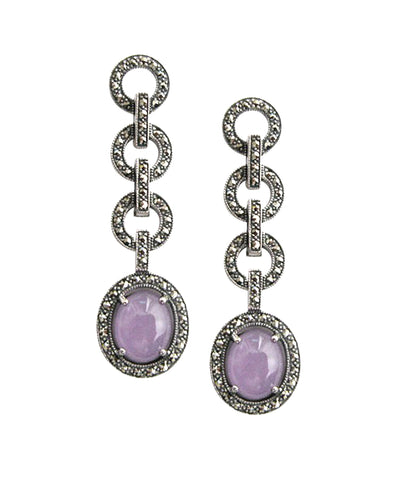 Art deco circle earrings in lavender marcasite jade and silver