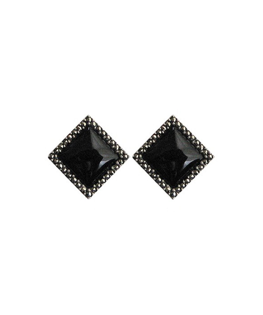 Art Deco onyx, marcasite and silver earrings - Metron