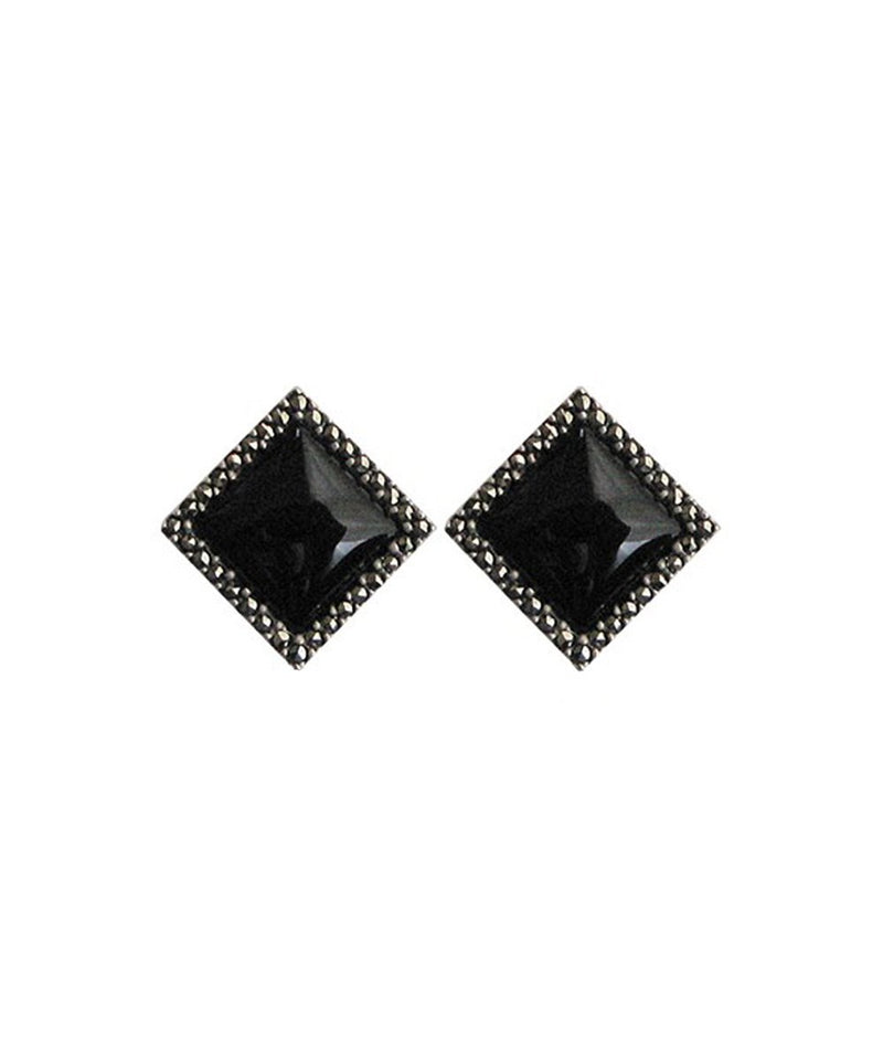 petities silver onyx art deco earrings